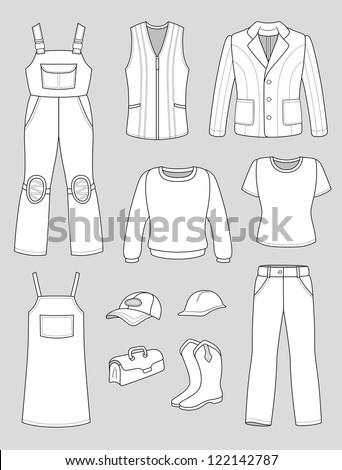Worker, plumber man, woman fashion set isolated on grey background