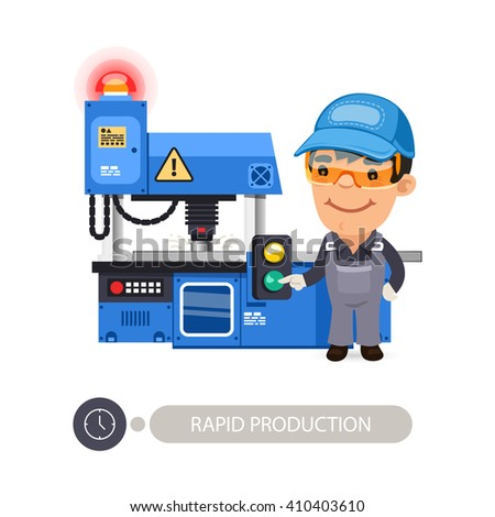Worker pushes the start button on the milling-machine. In the EPS file, each element is grouped separately. Clipping paths included. - stock vector