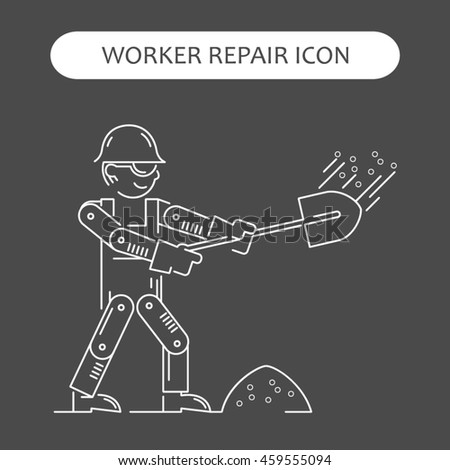 Worker Repair Icons set. Building and construction logo collection. Isolated white sign black background. Vector illustration. Usable for web, infographic and print
