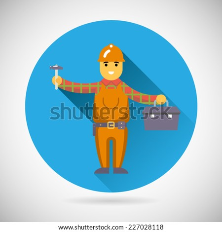 Worker repairer character with hammer toolbox icon construction repair symbol on Stylish Background Modern Flat Design Vector Illustration - stock vector
