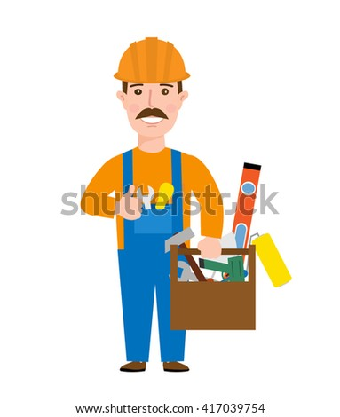 worker repairman builder in uniform with tool isolated on white background - stock vector