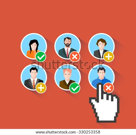 Worker's choice. work in team. flat style - stock vector