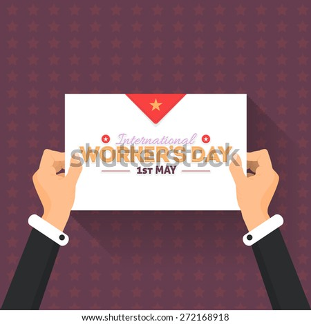 Worker's Day Lettering, Flat Long Shadow Style Card or Signboard Hold Hand  - stock vector