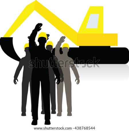 worker silhouette with yellow protective headgear isolated