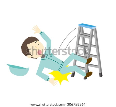 Worker to fall from stepladder - stock vector