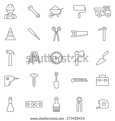 Worker tool line icons set.Vector - stock vector