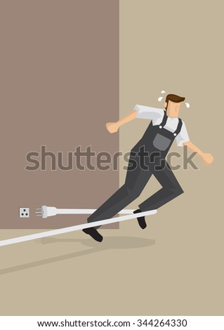 Worker trips over electric wire and falls forward. Vector illustration on work related accidents and workplace hazards.  - stock vector