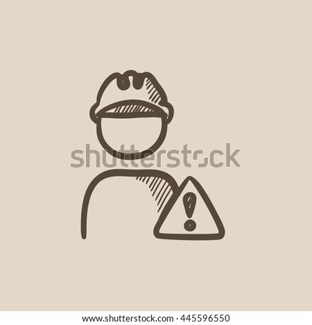 Worker with caution sign vector sketch icon isolated on background. Hand drawn Worker with caution sign icon. Worker with caution sign sketch icon for infographic, website or app. - stock vector