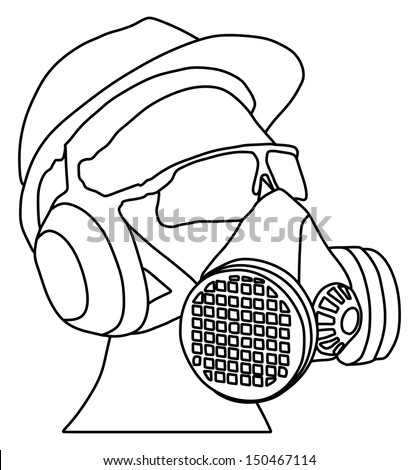 worker with helmet, gas mask and protect glasses vector isolated on white background - stock vector