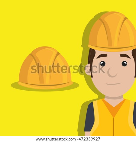 worker with protection tools icon vector illustration design
