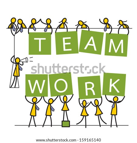 Workers, both business man and woman, helping showing message 'team work' cheerfully. Business concept in team work, corporation, togetherness, unity, or being happy in work. Vector illustration.     - stock vector