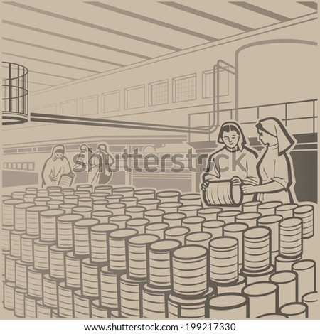 Workers carefully checking the products at the cannery retro vector illustration - stock vector