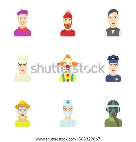 Workers icons set. Cartoon illustration of 9 workers vector icons for web