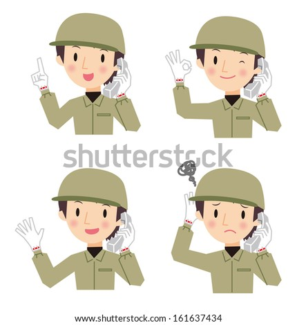 Workers man talking on the phone  - stock vector