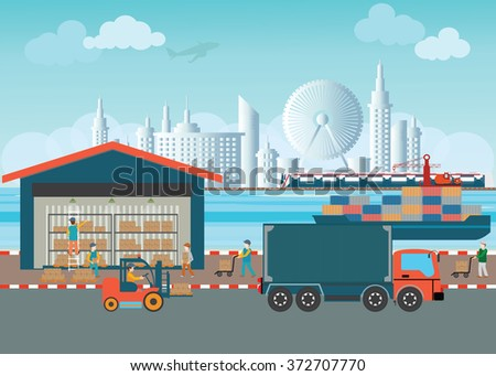 Workers of warehouse load boxes and pallet to stacks using forklifts, Industrial warehouse with trucks and cargo ships, logistics vector illustration. - stock vector