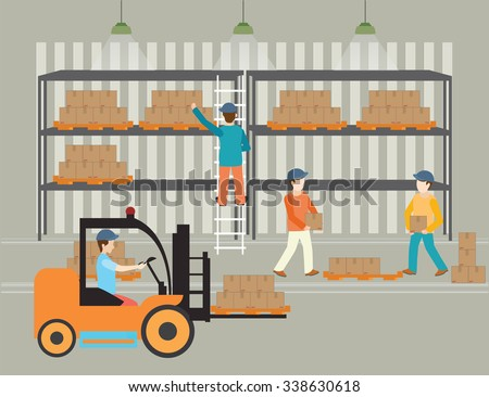 Workers of warehouse load boxes and pallet to stacks using forklifts, vector illustration. - stock vector