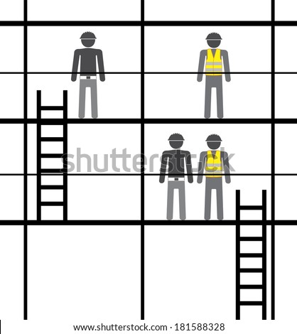 Workers on Scaffolding - stock vector