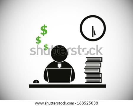 Workers Overtime - stock vector
