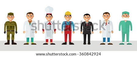 Workers, profession people uniform. Soldier, Scientist, Chef, Craftsman, Business man, Doctor, Surgeon. Isolated vector illustration in flat design style