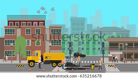 Workers repair the road at the crossroads of the city. Vector illustration, a flat style design.