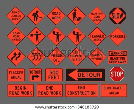 Workers road signs - stock vector