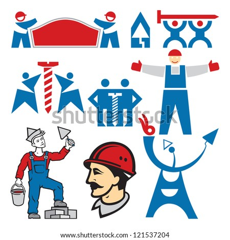 Workers Signs. Workers on building vector collection. Human logo. Human icon. Human character illustration. Design elements.  - stock vector