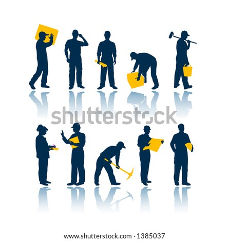 """Workers silhouettes. To see all my silhouettes, search by keywords: """"agb-svect"""" or """"agb-srastr"""" - stock vector"""