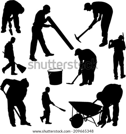 workers silhouettes - vector - stock vector