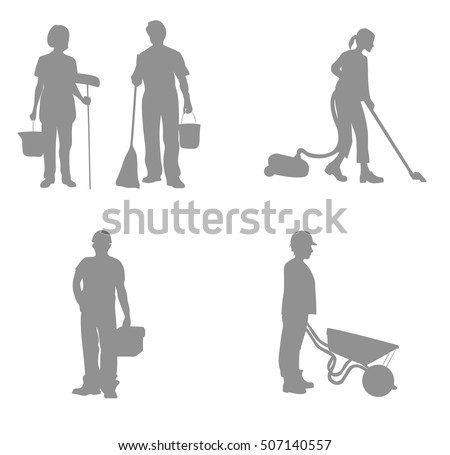 Workers silhouettes. vector illustration.