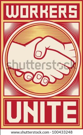workers unite poster (workers unite design) - stock vector
