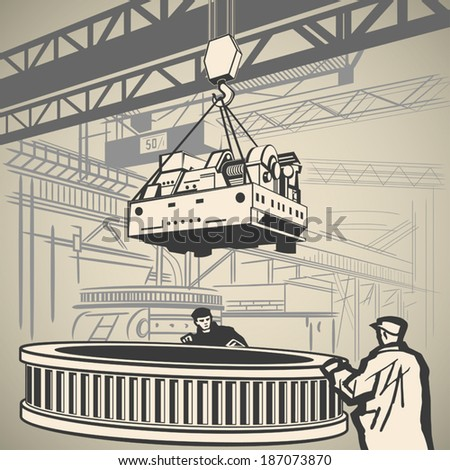 Workers unloading heavy industrial equipment with crane vector illustration - stock vector