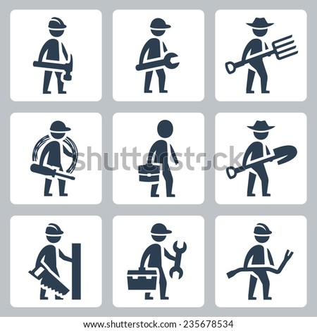 Workers vector icon set: builder, machinist, farmer, electrician, businessman, carpenter - stock vector