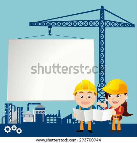 Workers with white board - stock vector