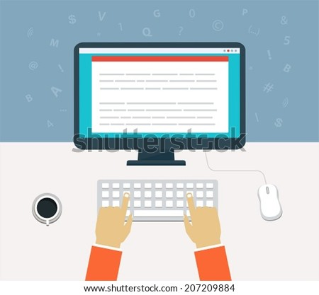 Workflow for computer. Enter of content on the computer - stock vector