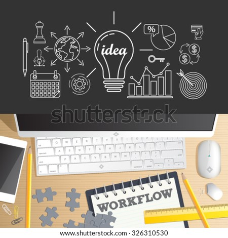 Workflow. Top view vector of Office desk table. Concept for website banner, background and marketing material. Career, professional skill, human resources business process, education. - stock vector