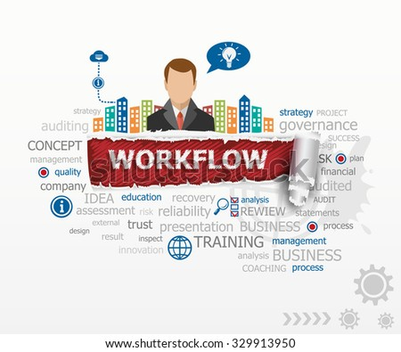 Workflow word cloud concept and business man. Workflow design illustration concepts for business, consulting, finance, management, career. - stock vector