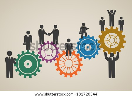 workforce, team working, business people in motion, motivation for success. - stock vector