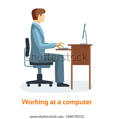 Working at computer Concept Flat Illustration. Man Working On Desktop Computer.