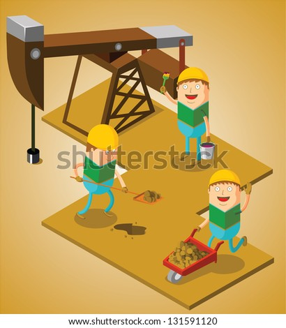 working at oil field - stock vector