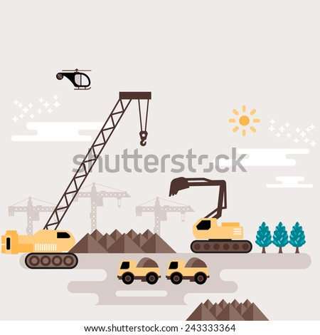 Working bulldozer cranes on building for construction industry design with sand earth soil hill. Color vector flat design modern illustrations. - stock vector