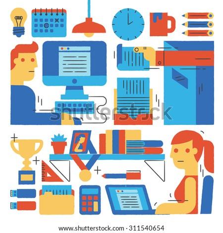 Working, Business, Freelancer Illustration - stock vector