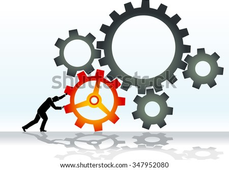Working Cogs-Man pushing cogs, abstract concept - stock vector