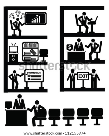 Working concept,resource,person and business style,icon set,Vector - stock vector