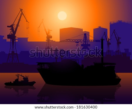 Working cranes and tug in sea port  - stock vector