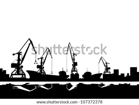 Working cranes. Black and white illustration.