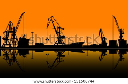 Working cranes unload cargo in seaport. Vector illustration for industrial design. Jpeg (rasterized) version also available in gallery - stock vector