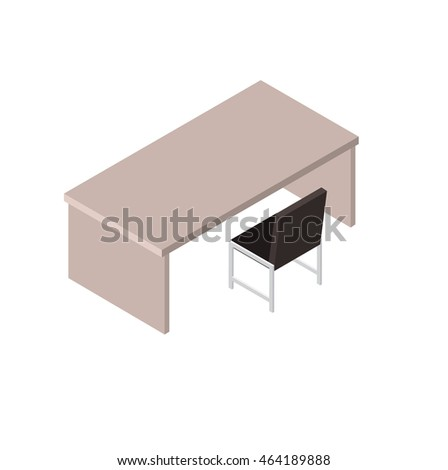Working empty computer table and chair, isometric
