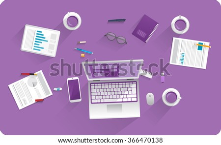 Working equipment on desk, computer , mobile phone, tablet, paper, documents, pencils and coffee. Isolated objects. - stock vector