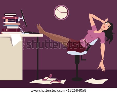 Working late. Tired woman sitting at the desk in an office late at night, vector cartoon - stock vector