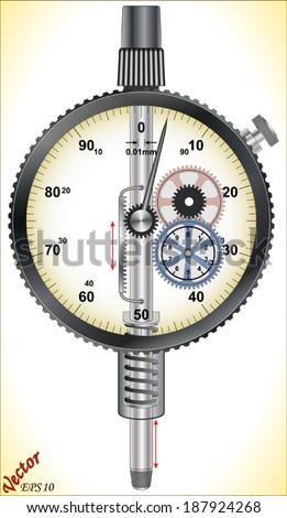 Working Mechanism of Dial Indicators (Metrology) - stock vector